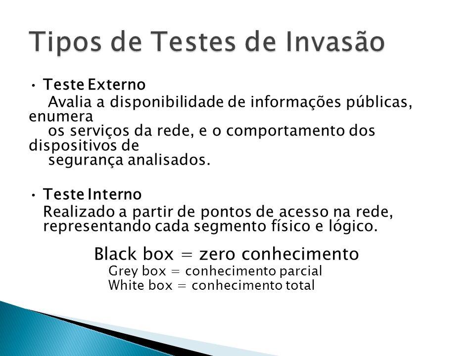 Tipos de Testes de Invasão