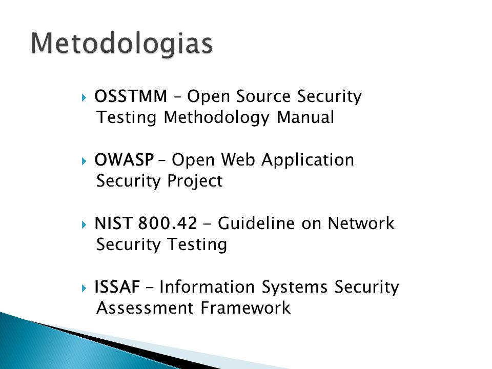 Metodologias OSSTMM - Open Source Security Testing Methodology Manual