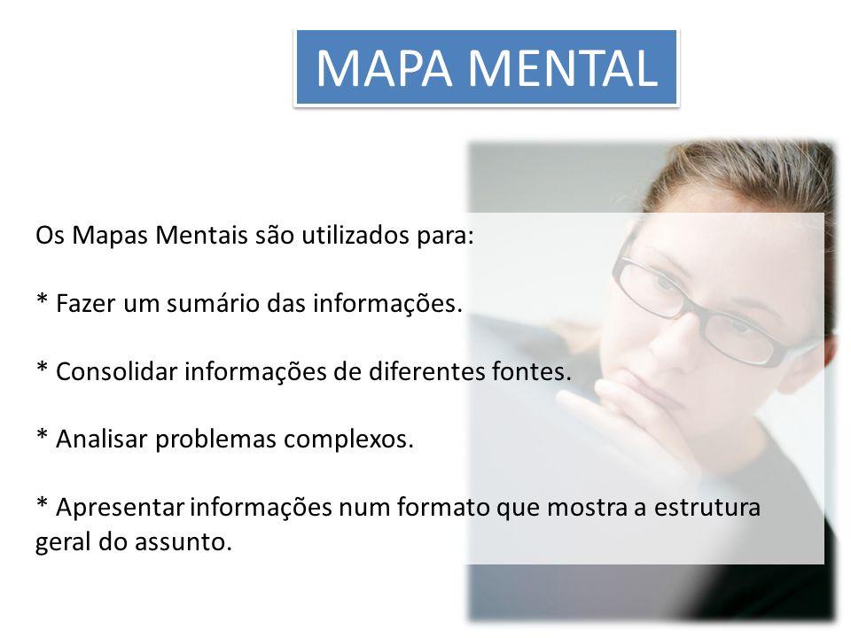 MAPA MENTAL Os Mapas Mentais são utilizados para: