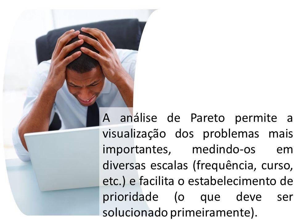 A análise de Pareto permite a visualização dos problemas mais importantes, medindo-os em diversas escalas (frequência, curso, etc.) e facilita o estabelecimento de prioridade (o que deve ser solucionado primeiramente).