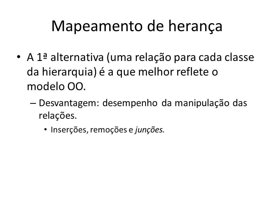 Mapeamento de herança A 1ª alternativa (uma relação para cada classe da hierarquia) é a que melhor reflete o modelo OO.