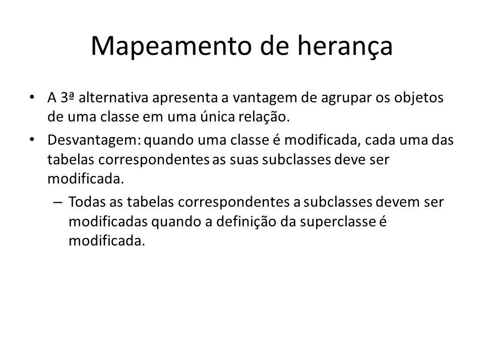 Mapeamento de herança A 3ª alternativa apresenta a vantagem de agrupar os objetos de uma classe em uma única relação.