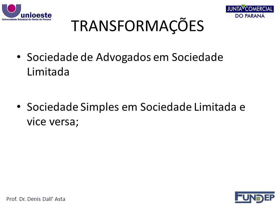 TRANSFORMAÇÕES Sociedade de Advogados em Sociedade Limitada
