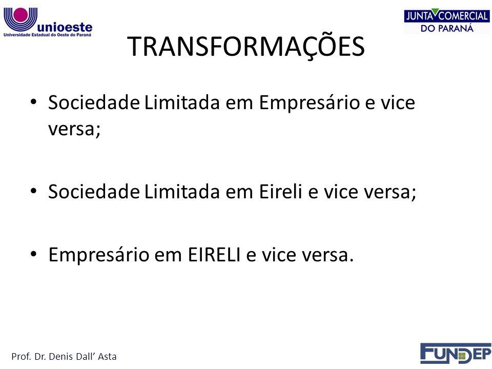 TRANSFORMAÇÕES Sociedade Limitada em Empresário e vice versa;