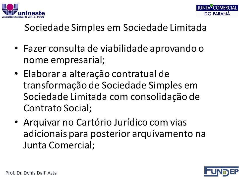 Sociedade Simples em Sociedade Limitada
