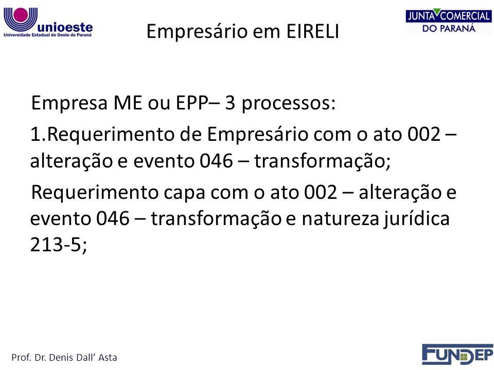 Empresa ME ou EPP– 3 processos:
