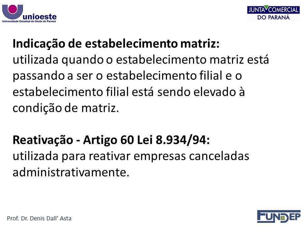 Indicação de estabelecimento matriz:
