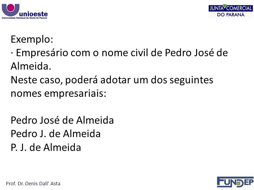 · Empresário com o nome civil de Pedro José de Almeida.
