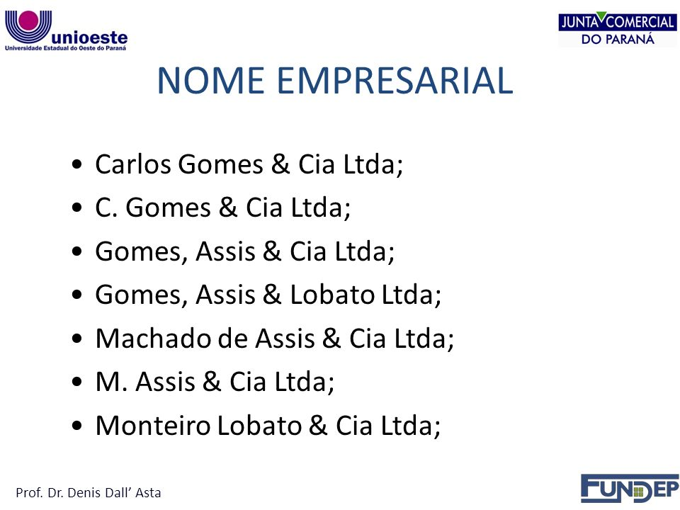 NOME EMPRESARIAL Carlos Gomes & Cia Ltda; C. Gomes & Cia Ltda;
