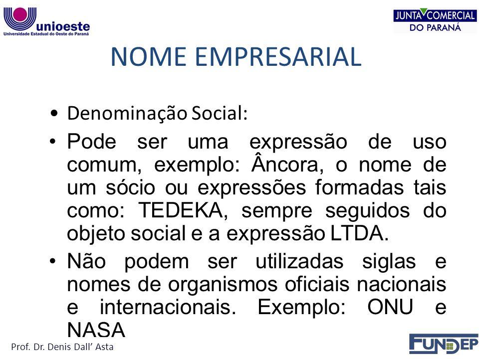 NOME EMPRESARIAL Denominação Social: