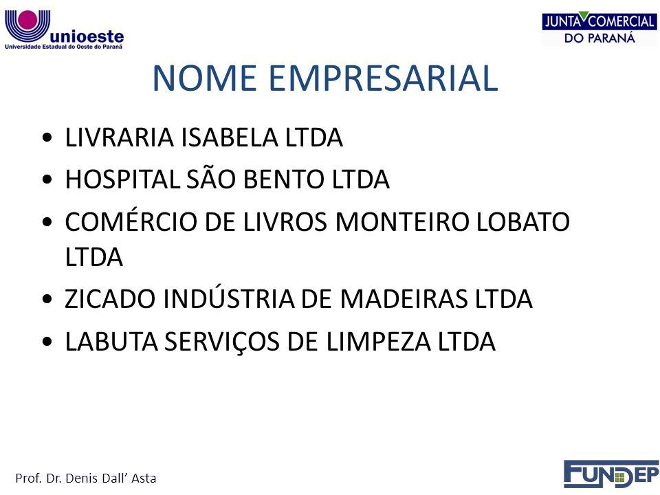NOME EMPRESARIAL LIVRARIA ISABELA LTDA HOSPITAL SÃO BENTO LTDA