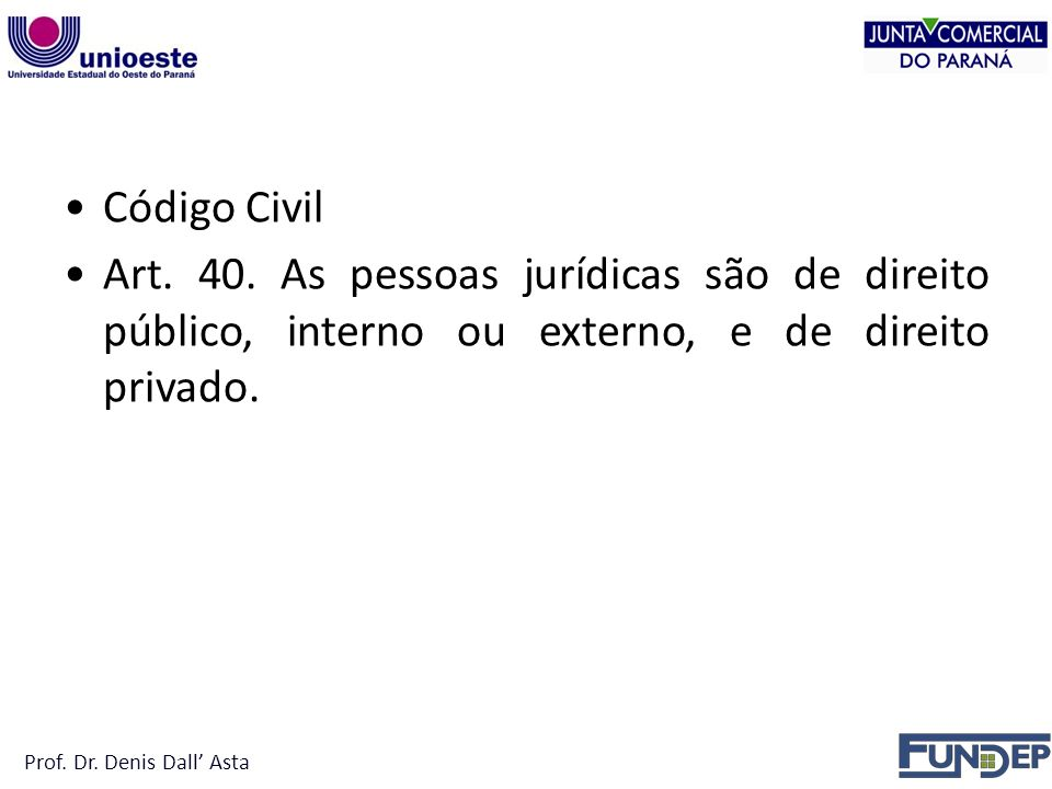 PESSOA JURÍDICA Código Civil