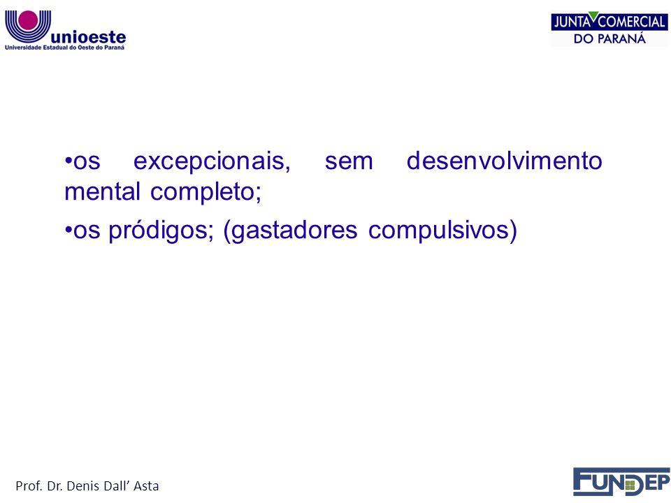 NÃO PODEM SER TITULAR Prof. Dr. Denis Dall' Asta. os excepcionais, sem desenvolvimento mental completo;
