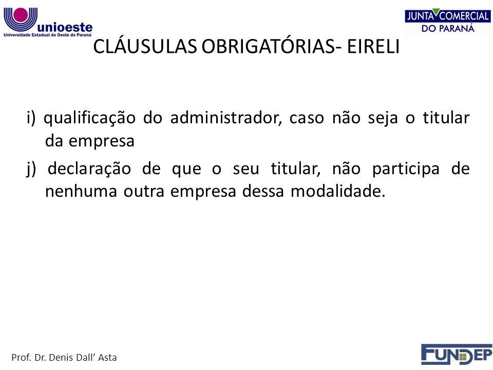 CLÁUSULAS OBRIGATÓRIAS- EIRELI