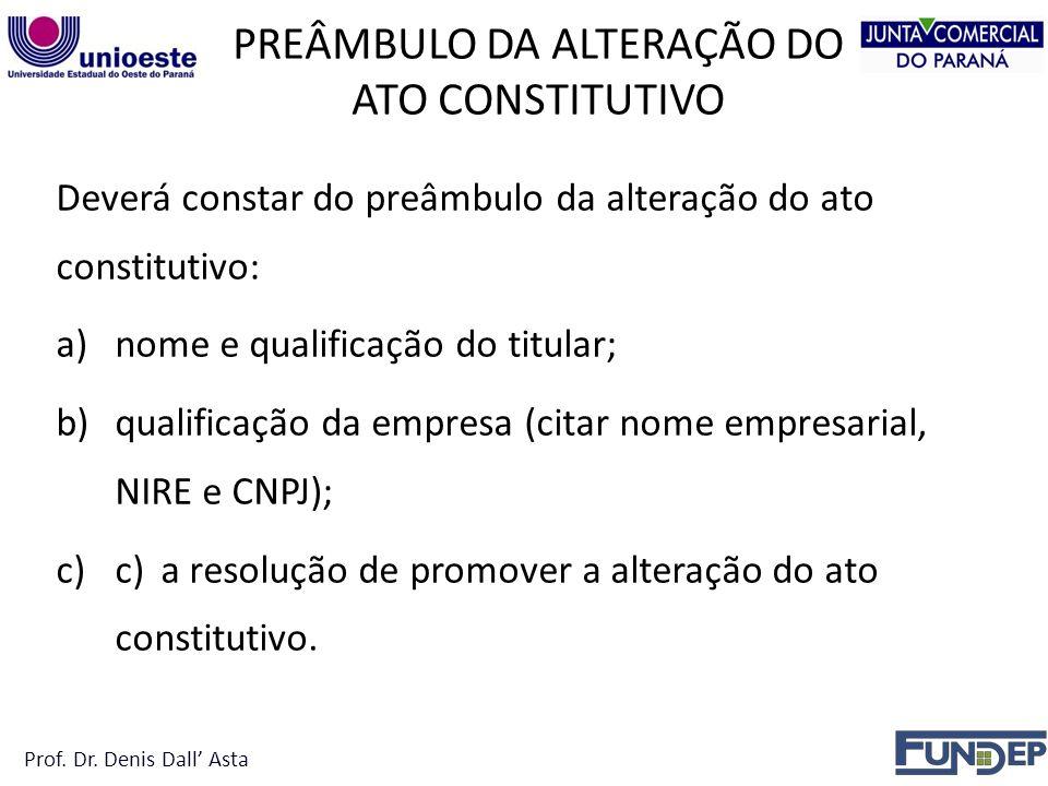 PREÂMBULO DA ALTERAÇÃO DO ATO CONSTITUTIVO