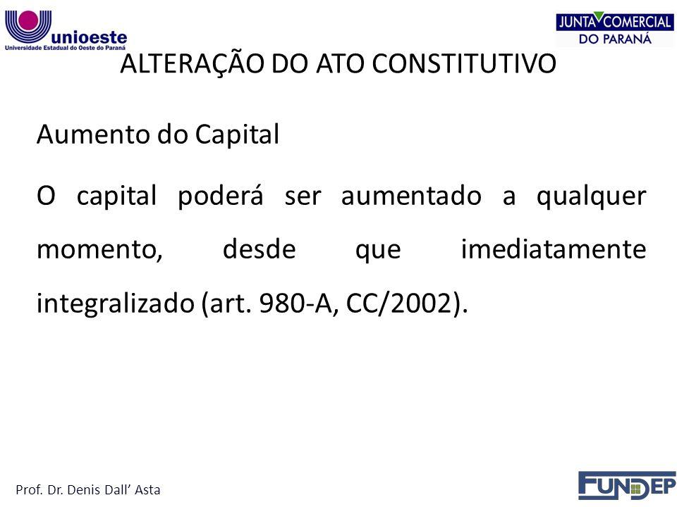 ALTERAÇÃO DO ATO CONSTITUTIVO