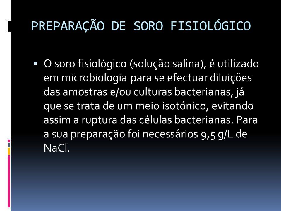 PREPARAÇÃO DE SORO FISIOLÓGICO