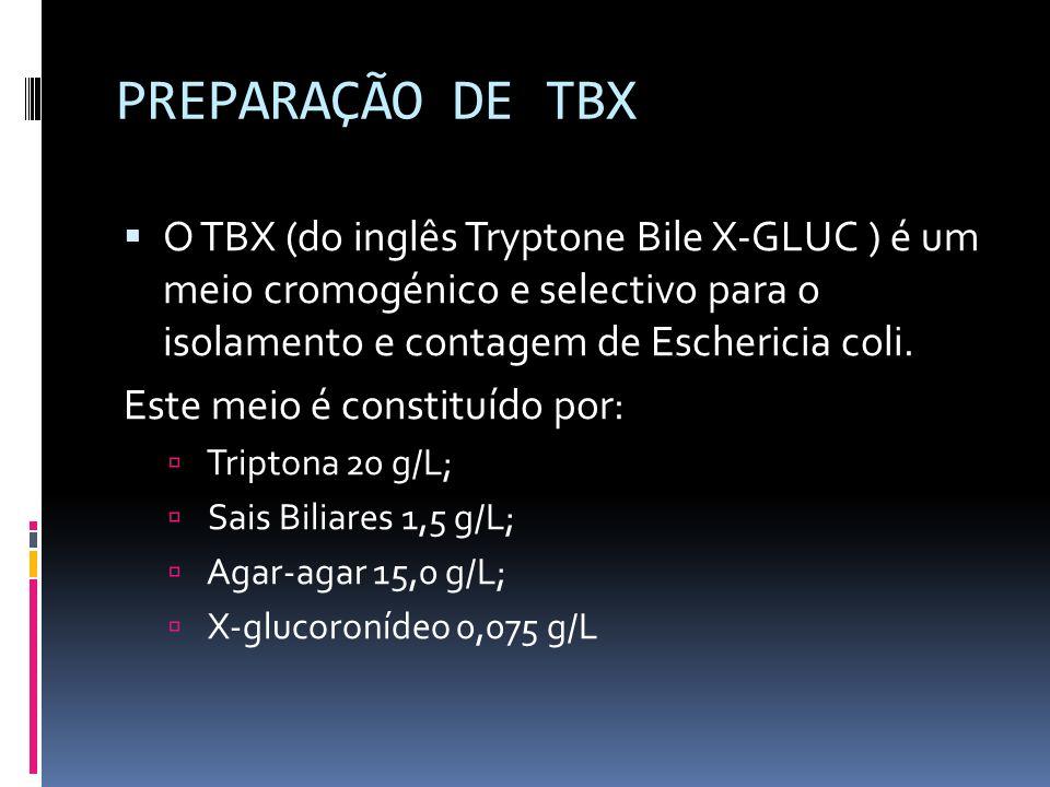 PREPARAÇÃO DE TBX O TBX (do inglês Tryptone Bile X-GLUC ) é um meio cromogénico e selectivo para o isolamento e contagem de Eschericia coli.