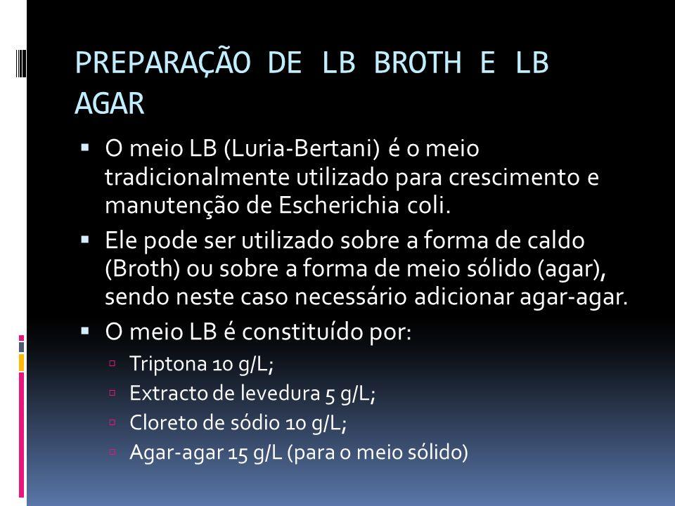 PREPARAÇÃO DE LB BROTH E LB AGAR
