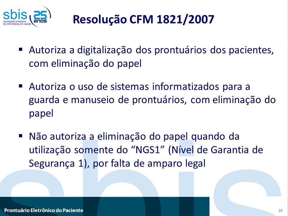 Resolução CFM 1821/2007 Autoriza a digitalização dos prontuários dos pacientes, com eliminação do papel.