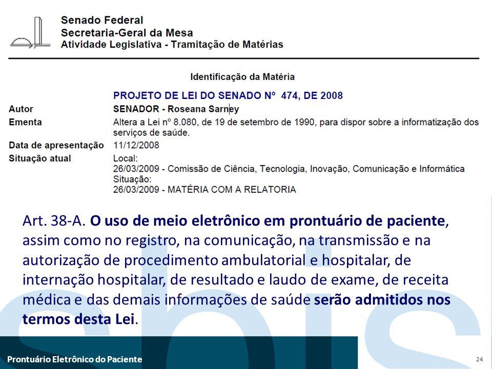 Art. 38-A. O uso de meio eletrônico em prontuário de paciente,