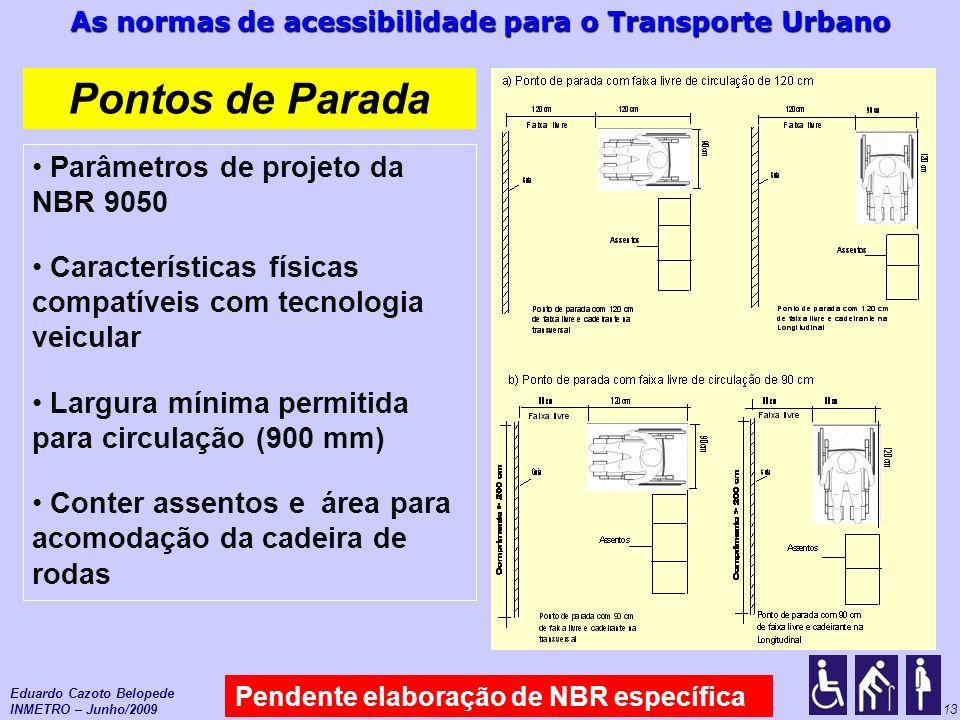 Pontos de Parada Parâmetros de projeto da NBR 9050