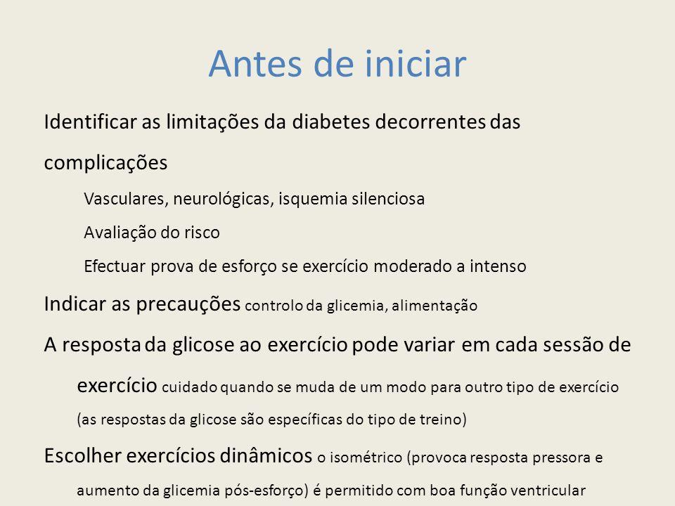 Antes de iniciar Identificar as limitações da diabetes decorrentes das complicações. Vasculares, neurológicas, isquemia silenciosa.
