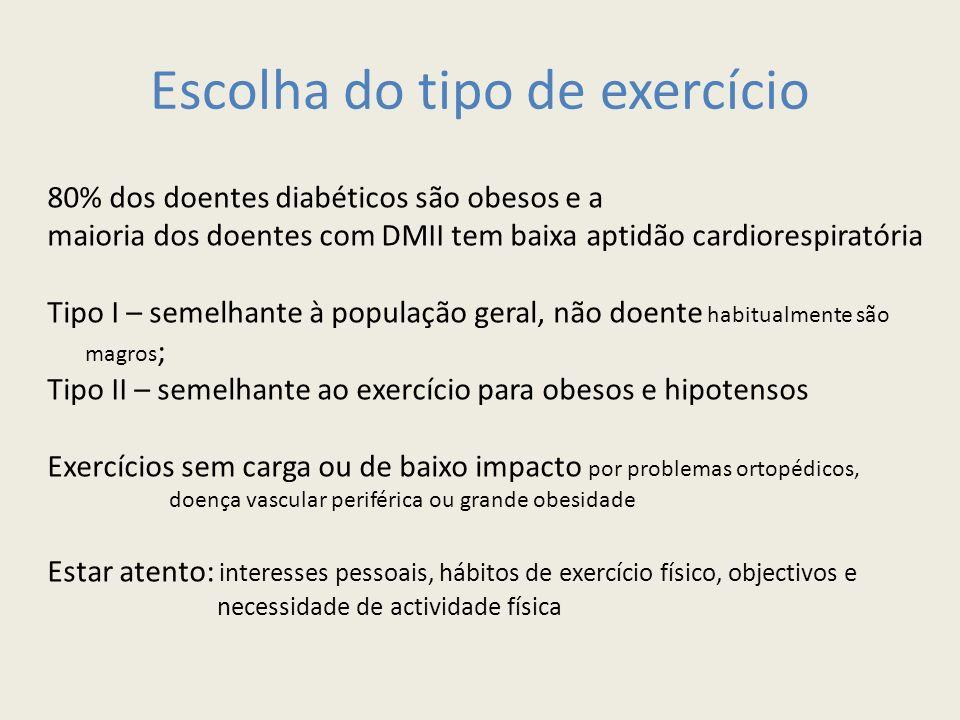 Escolha do tipo de exercício