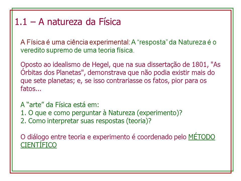 1.1 – A natureza da Física A Física é uma ciência experimental: A resposta da Natureza é o veredito supremo de uma teoria física.