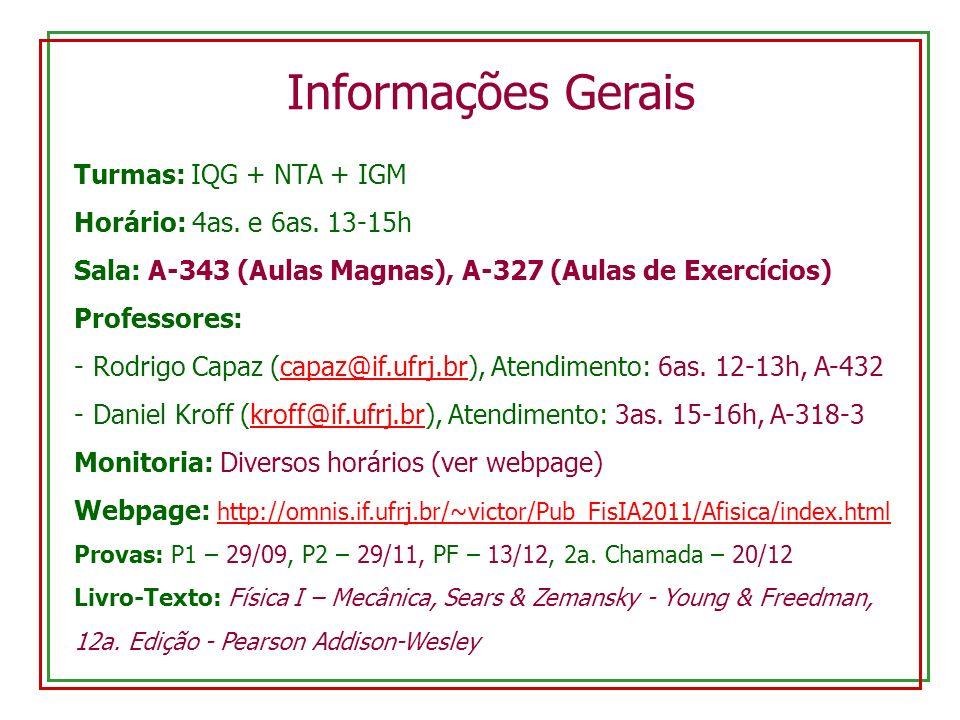 Informações Gerais Turmas: IQG + NTA + IGM Horário: 4as. e 6as. 13-15h
