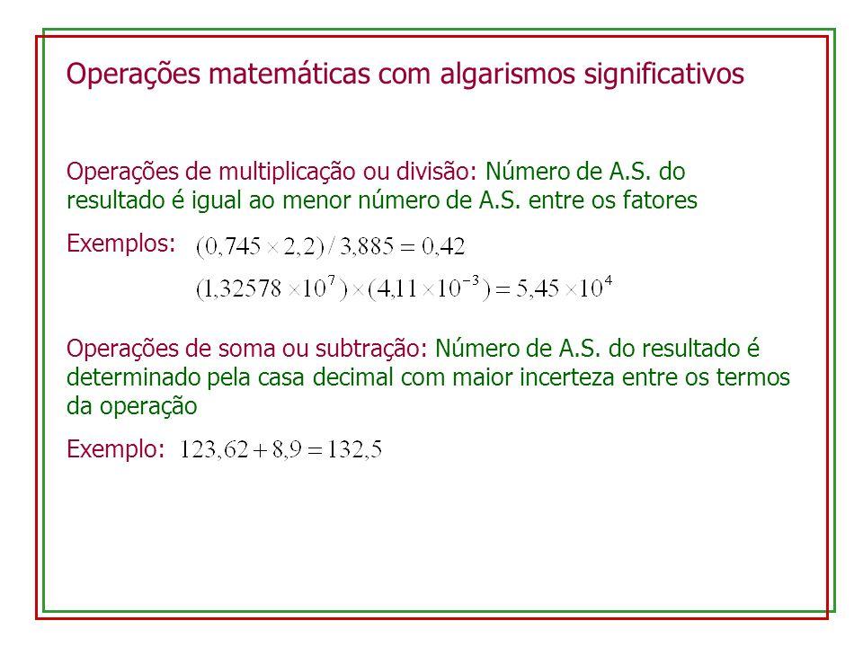 Operações matemáticas com algarismos significativos