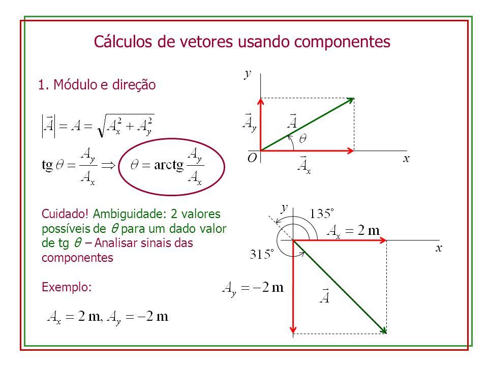 Cálculos de vetores usando componentes