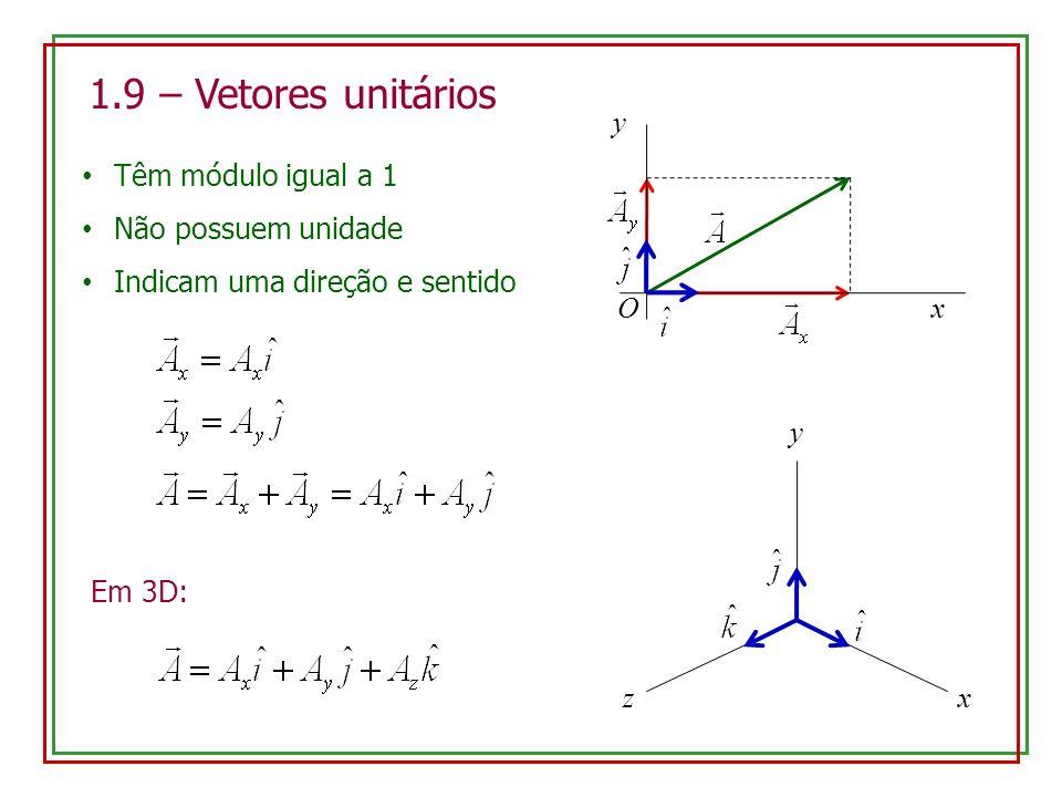 1.9 – Vetores unitários O y x Têm módulo igual a 1 Não possuem unidade