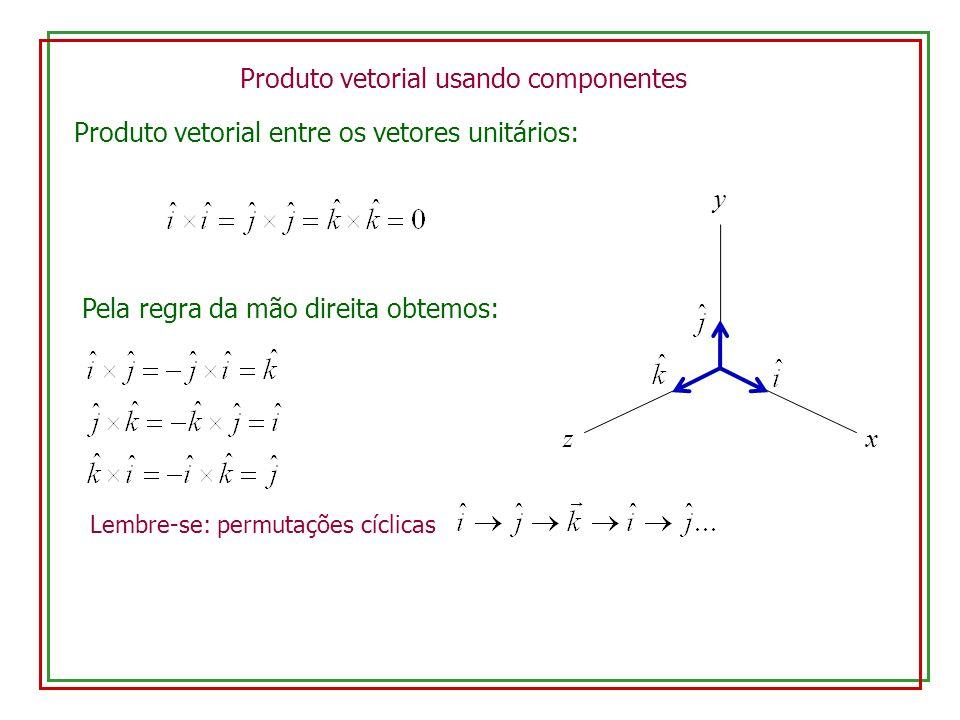 Produto vetorial usando componentes