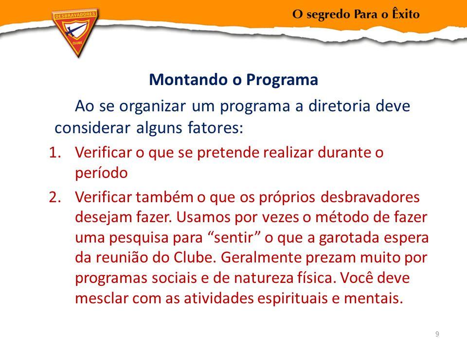 Montando o Programa Ao se organizar um programa a diretoria deve considerar alguns fatores: Verificar o que se pretende realizar durante o período.