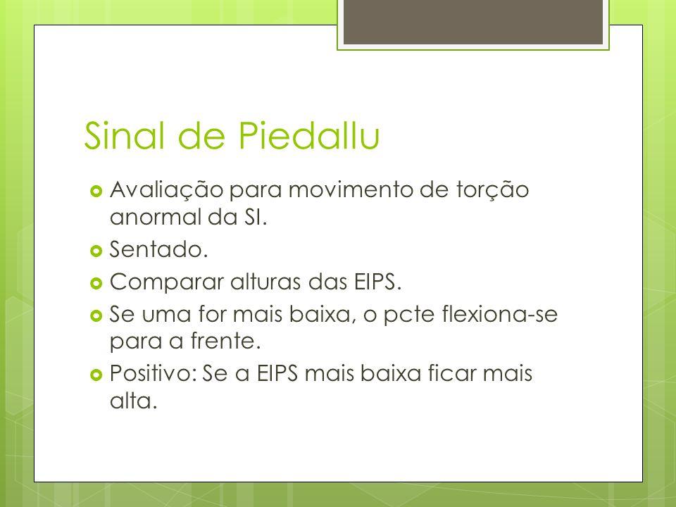 Sinal de Piedallu Avaliação para movimento de torção anormal da SI.