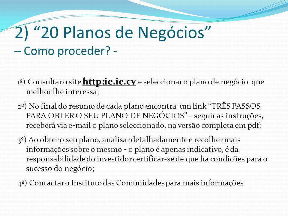 2) 20 Planos de Negócios – Como proceder -