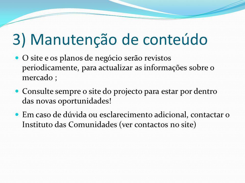3) Manutenção de conteúdo