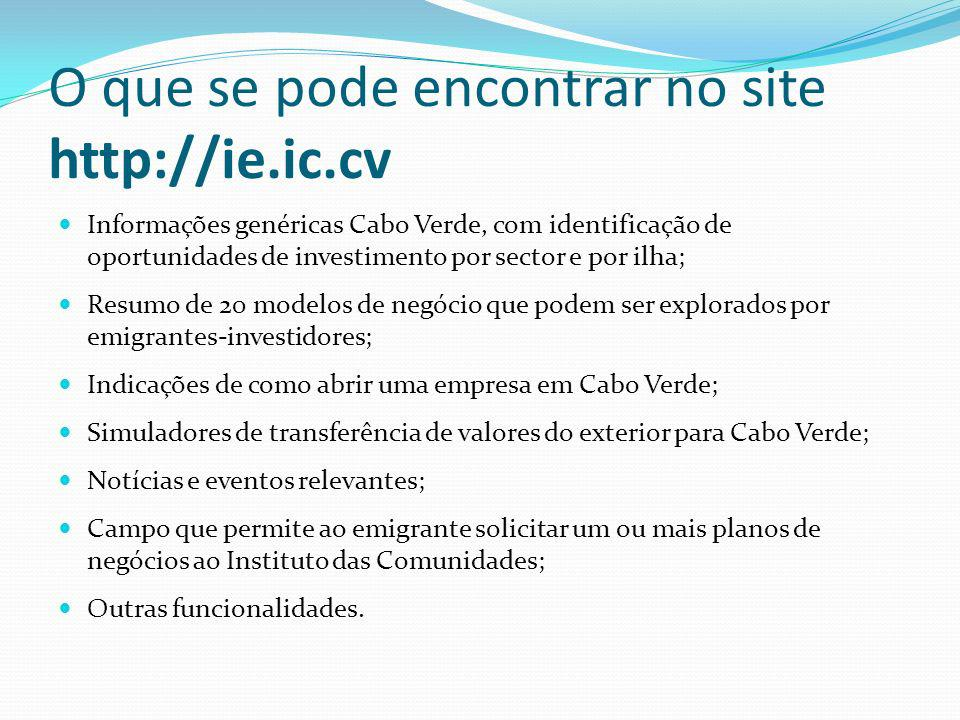 O que se pode encontrar no site http://ie.ic.cv