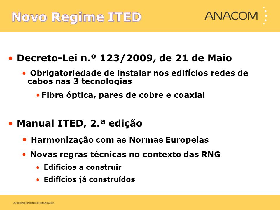 Novo Regime ITED Decreto-Lei n.º 123/2009, de 21 de Maio