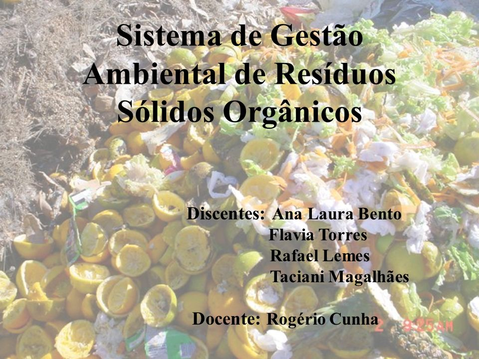 Sistema de Gestão Ambiental de Resíduos Sólidos Orgânicos