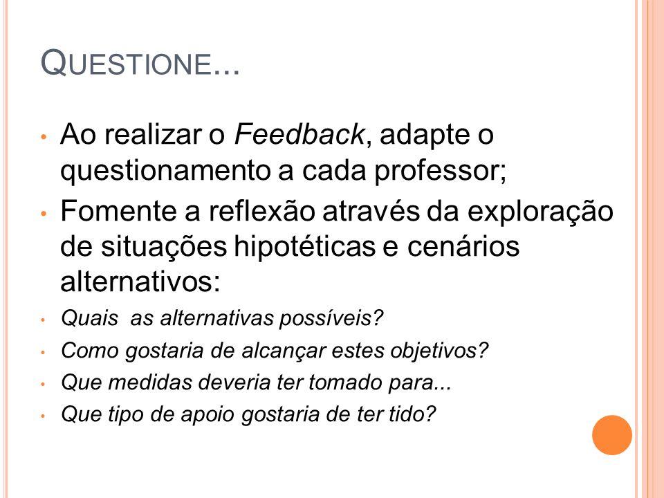 Questione... Ao realizar o Feedback, adapte o questionamento a cada professor;