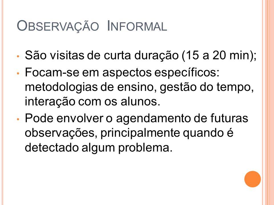 Observação Informal São visitas de curta duração (15 a 20 min);