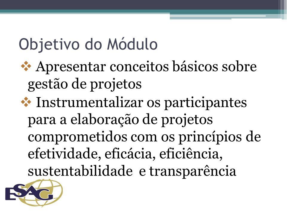 Objetivo do Módulo Apresentar conceitos básicos sobre gestão de projetos.