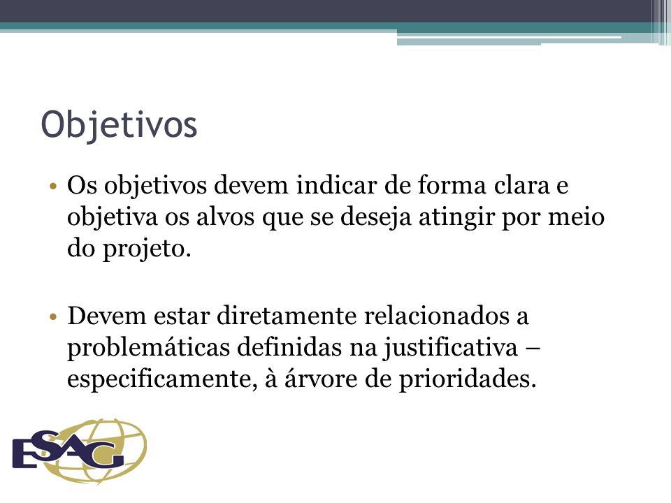 Objetivos Os objetivos devem indicar de forma clara e objetiva os alvos que se deseja atingir por meio do projeto.