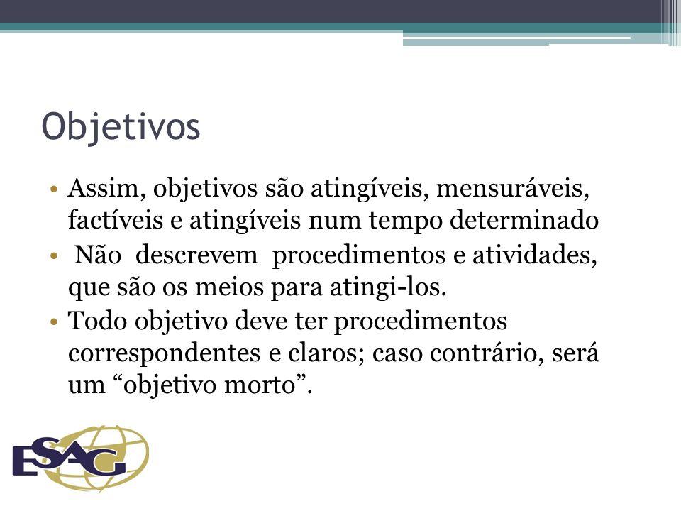 Objetivos Assim, objetivos são atingíveis, mensuráveis, factíveis e atingíveis num tempo determinado.