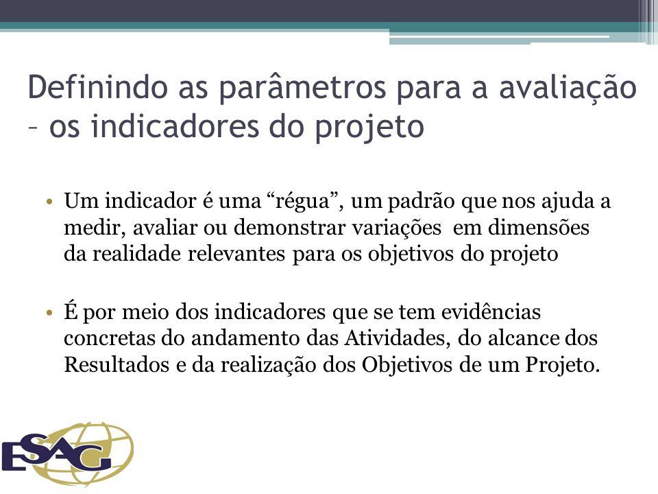 Definindo as parâmetros para a avaliação – os indicadores do projeto