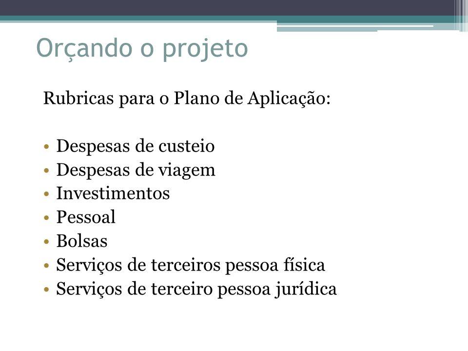 Orçando o projeto Rubricas para o Plano de Aplicação: