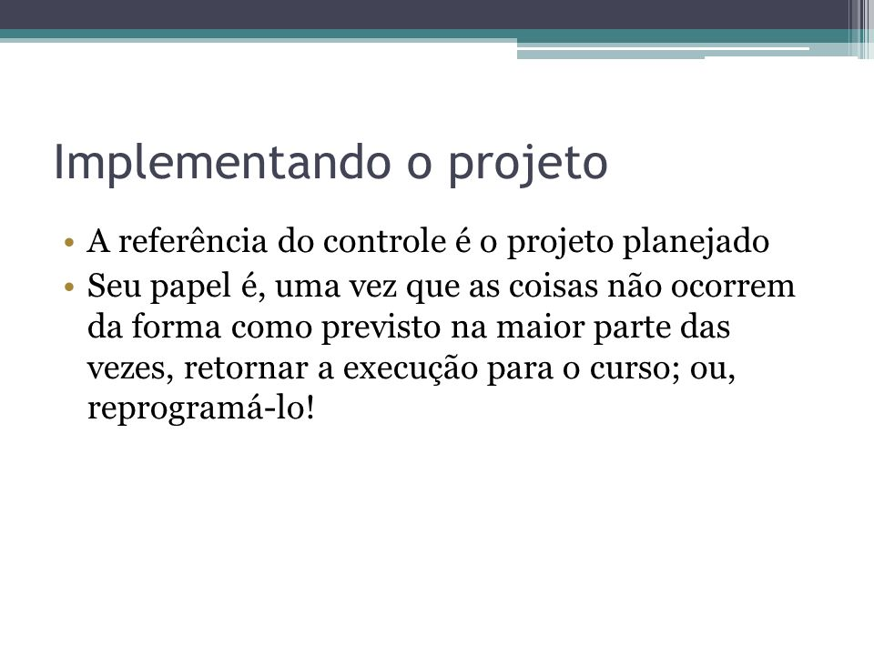 Implementando o projeto