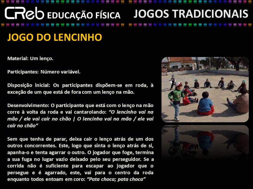 JOGOS TRADICIONAIS JOGO DO LENCINHO Material: Um lenço.